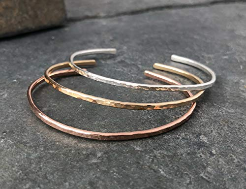 Mixed Metal Hammered Thin Cuff Stacking Bracelet - Sterling Silver, Rose Gold Fill, Yellow Gold Fill