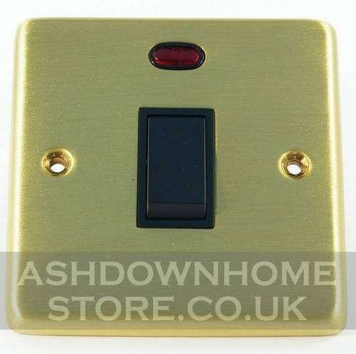 G&H CSB26B Standard Plate Satin Brushed Brass 1 Gang 20 Amp Double Pole Switch & Neon G&H Brassware