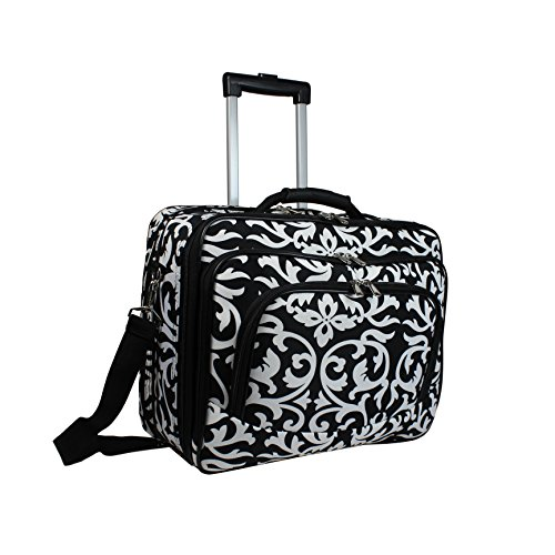 World Traveler Damask Rolling 17-inch Laptop Case, Black - Brief Computer Case