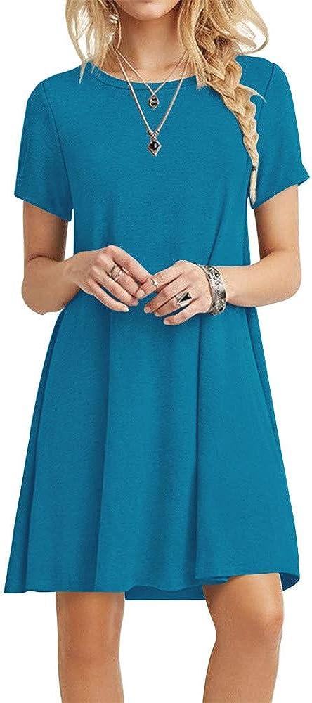 POPYOUNG Womens Summer Casual Tshirt Dresses Short Sleeve Boho Beach Dress