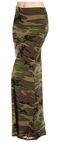 cb42feb92 NioBe Various Printed Full Length Banded Waist Foldover Maxi Skirt (Small,  Army)