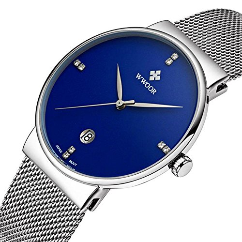 Watch Blue Face Leather Band - 7
