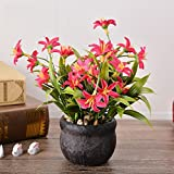 Lopkey Red Artificial Flower with a potted lifelike home decor artificial retro potted plastic flower
