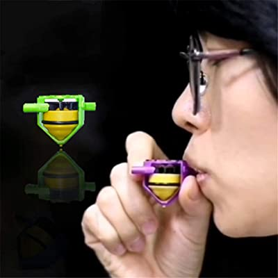 Fmingdou Novelty Whistle Gyro Toys Blowing Rotation Stress Relief Desktop Spinning Top Toys Kids Toys Gift: Toys & Games