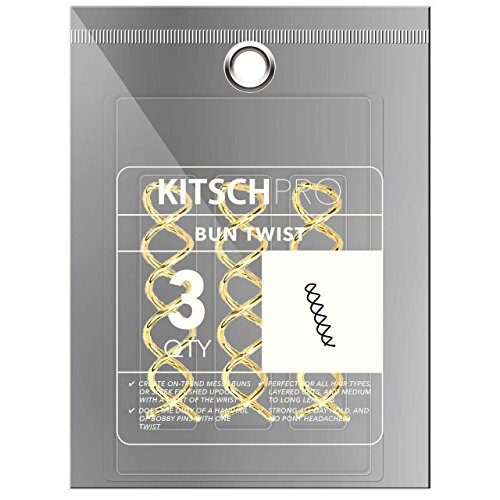 Kitsch Pro Bun Twist, Spin Pins, Corkscrew Hair Pins for Fast Bun, Spiral Screw Hair Pin, 3 Count (Gold) (Pro Gold Screw)