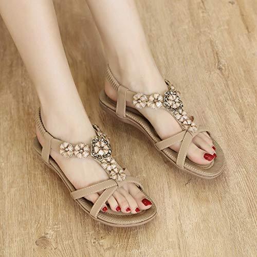 Cuentas de Beige con tamaño Sandalias Correa Plana Flores 39 ZHRUI Beige Mujeres Zapatos Suela Color elástica EU fHg8x
