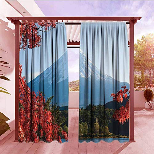(Curtains Rod Pocket Two Panels Cottage Decor Collection Mountain Fiji with Snow Capped Summit and Lake on Its Skirts Between Maple Trees in Autumn View Outdoor Privacy Porch Curtains W108x84L)