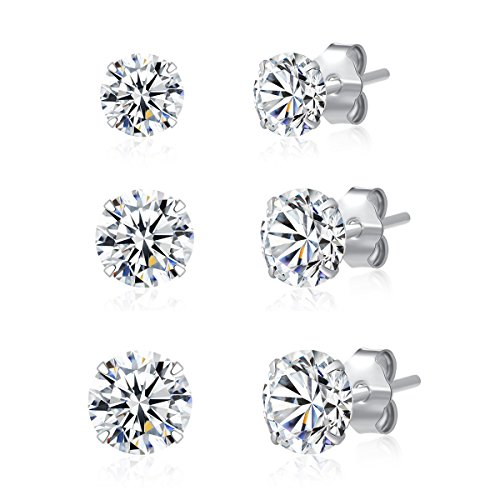3 Pairs 925 Sterling Silver Cubic Zirconia Stud Earrings 3mm-4mm-5mm Set Men - Mm 4 Earrings Stud
