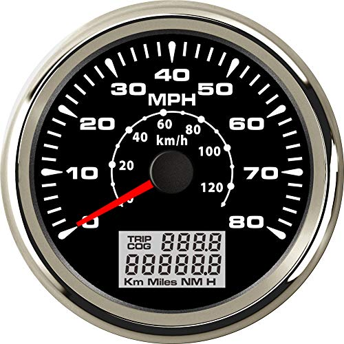 (BLUERICE 7 Backlight Universal GPS Speedometer 0-120Km/h 0~80MPH 85MM GPS Speed Odometers Speed Gauges Indicators)