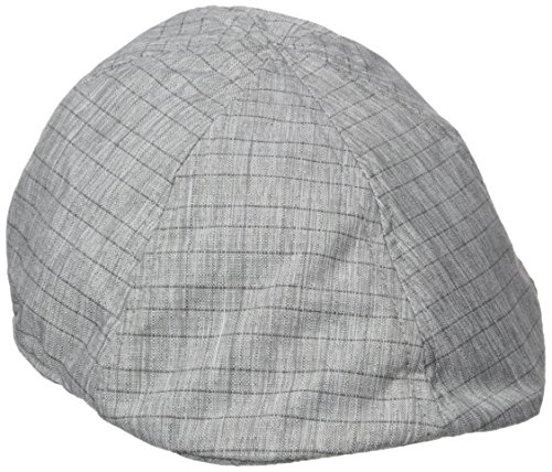 Van Heusen Men's Lightweight Linen IVY Flat Cap, Box Check Pattern, Grey, Medium/Large