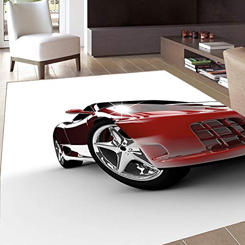 (Rug,Floor Mat Rug,Teen,Area Rug,Modern Automotive Vivid Toned Car Back View Prestige Passion Artistic Image,Home mat,6'x7'Black and Ruby,Rubber Non Slip,Indoor/Front Door/Kitchen and Living Room/Bedro)