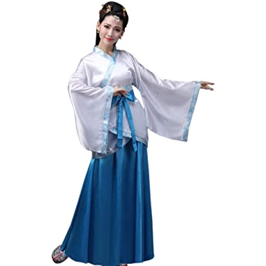 4a0a4699d XFentech Women's Ancient Chinese Style Clothes Tang Suit Hanfu Princess  Chaise Dress Cosplay Performances Costume,