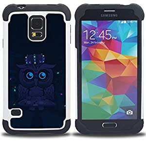 - Cute Funny Night Owl - - Doble capa caja de la armadura Defender FOR Samsung Galaxy S5 I9600 G9009 G9008V RetroCandy