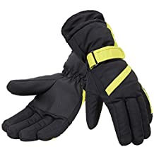 Simplicity Women 3M Thinsulate Lined Waterproof Snowboard/Ski Gloves,L,Bl/Yellow