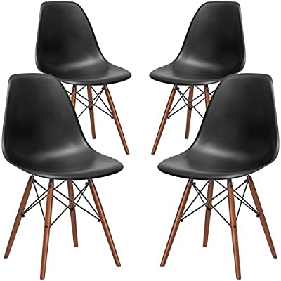 Poly and Bark Vortex Modern Mid-Century Side Chair with Wooden Walnut Legs for Kitchen, Living Room and Dining Room (Set of 2) ...