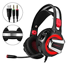 Gaming Headset for Phoinikas H4 Stereo Headset for PS4 Xbox One PC Laptop Nintendo Switch with Mic LED Light Splitter and Volumn Control Headphones - Volume Control (Red)