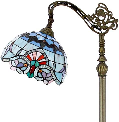 Tiffany Style Reading Floor Lamp Stained Glass Pink Blue Baroque Lampshade in 64 Inch Tall Antique Arched Base for Girlfriend Bedroom Living Room Lighting Table Set S003P WERFACTORY