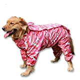 BBEART Dog Raincoat, Fashion Four-legged Hooded Pet Raincoat Rain Jacket Jumpsuit Rain Poncho Coat Slicker Camouflage Long Sleeves Rainproof Clothes for Small Medium Large Dogs Cool (24, Pink)