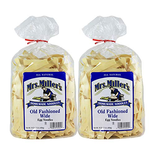 Mrs. Millers Old Fashioned Wide Noodles 16oz. Bag (2 Bags) - Old Fashioned Chicken Noodle Soup