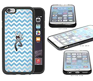 Light Blue and White Chevron Pattern with Silver Deer Buck w/ Bow iPhone 6 (4.7) INCH SCREEN Rubber Silicone TPU Cell Phone Case