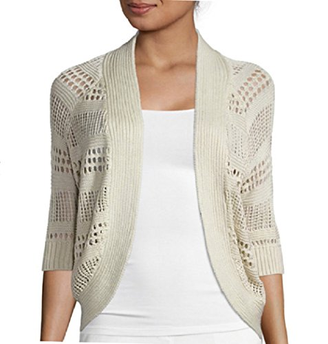 Liz Claiborne 3/4 sleeves Crochet Cardigan Sweater Size PXL