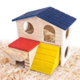 hamster houses - Hamster Deluxe Wooden House with Slide, Hideout Hut Habitat for Small Animals, Dwarf Mice, Gerbil, Sugar Gliders