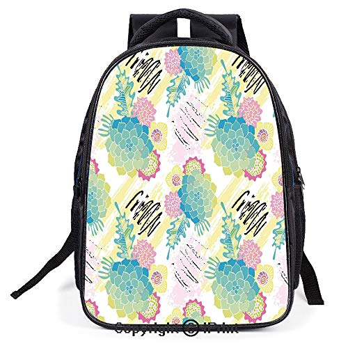(Double Strap Multipurpose Backpack,Floral Corsage Pattern with Brushstrokes Colorful Flourish Foliage Summer Field Decorative,Polyester fiber,Large)