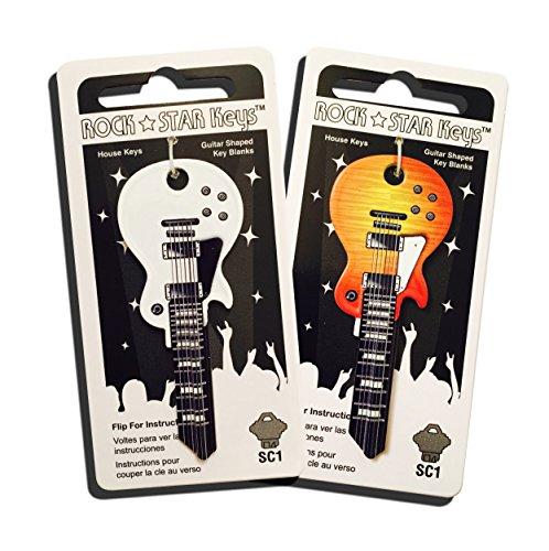 - Set of 2 Sunburst and White Wide Body LP Shaped Guitar Keys (SC1)