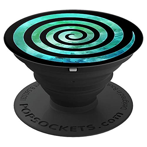 Spiral Blue Green Swirl - PopSockets Grip and Stand for Phones and Tablets ()