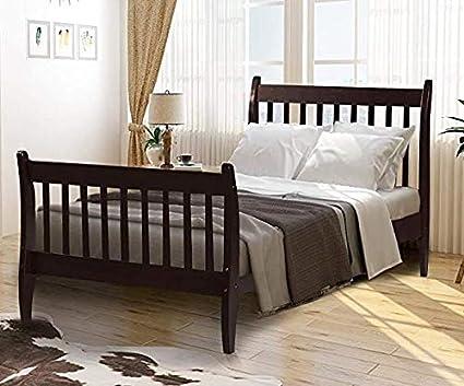 Rhomtree Cama de Plataforma de Madera de tamaño Doble para niños con cabecero y Base de colchón de Apoyo de Listones de Madera, no Necesita somier.