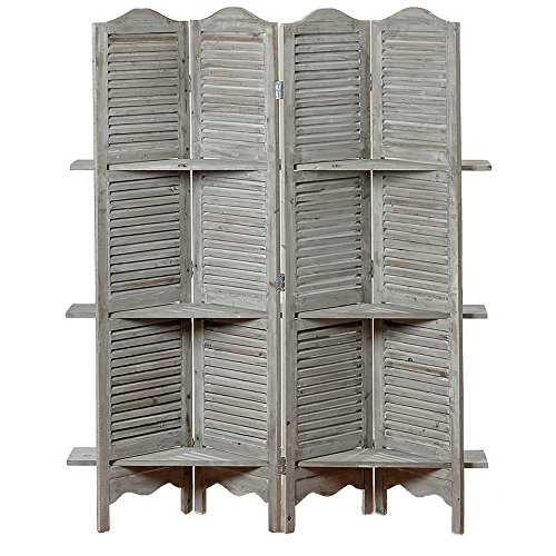 The Stockbridge 4 Panel Room Divider, With 3 Shelves And Louvered Shutters,  Rustic Gray, Wood, Approximately 6 Ft Tall, By Whole House Worlds