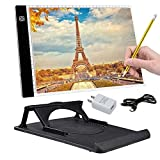 AMYTY A4 LED Light Box Ultra-thin Portable Artcraft Tracing Drawing Light Pad Light Box Tracer USB Power Art Tracing Xray Light Board with Holder for Tracer Kids Artists Diamond Painting Adjustable Soft Brightness for Embroidery Sketching Animation Stenci