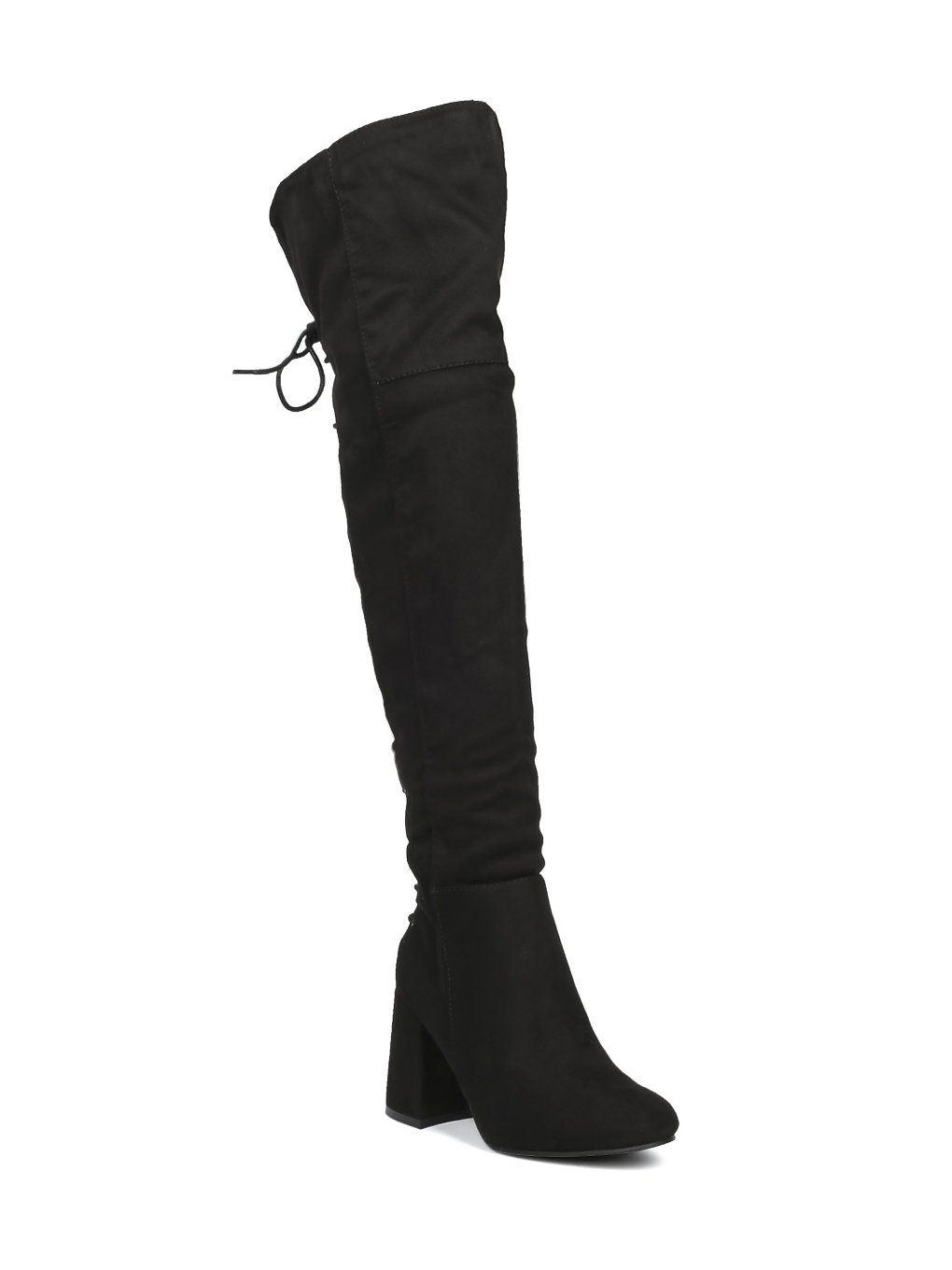 Indulge Bella-I Women Faux Suede Over The Knee Hind Lace Up Block Heel Boot HE65 - Black Faux Suede (Size: 11)