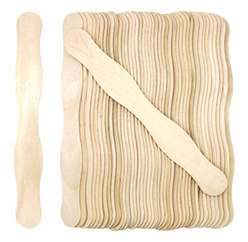 200 Pcs Natural Wavy Jumbo Wood Fan Wooden Handles Wedding Fan Craft Sticks Length 8 Inch