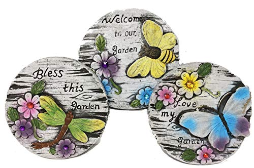Decorative Garden Cement Round Distressed Stepping Stones with Sayings, 3 Pc Set, Love My Garden, Bless This Garden, Welcome to Our Garden