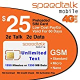 #1: $25 GSM Prepaid SIM Card - Unlimited Text No Contract 60-Day Wireless Service