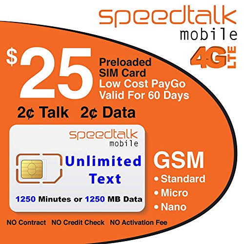 $25 GSM Prepaid SIM Card - Unlimited Text No Contract 60-Day Wireless Service by SpeedTalk Mobile