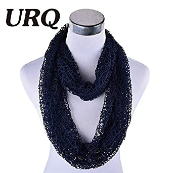 8a1a31b36f HITSAN INCORPORATION URQ Women Ring Scarves Handmade Wraps Hollow Out Short  Mesh Shawl Cover Up Lady loop Scarves Wedding Scarf P7A16874 PA dark blue:  ...