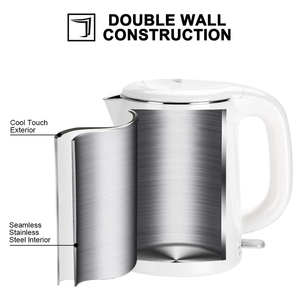Secura Stainless Steel Double Wall Electric Kettle Water Heater for Tea Coffee w/Auto Shut-Off and Boil-Dry Protection, 1.0L, White by Secura (Image #2)