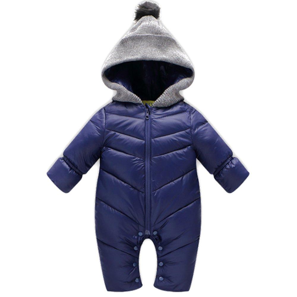 BOZEVON Newborn Baby Girls & Boys Fall/Winter Plush Snowsuit Romper Infant Faux Fur Cute Animal Hooded Unisex Jumpsuits Outfit Warm Down Jacket One Piece Bodysuit, Rose