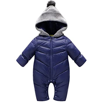 a476e35a3d68 BOZEVON Newborn Baby Girls   Boys Fall Winter Plush Snowsuit Romper ...