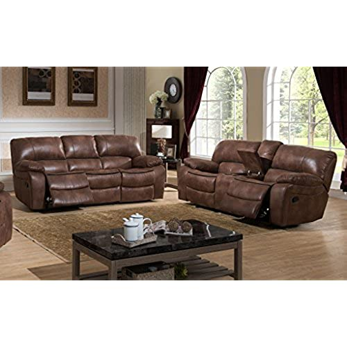 AC Pacific Leighton Collection Contemporary 2 Piece Upholstered Living Room  Set With Transitional Reclining Sofa And Loveseat With Storage Console And  Cup ...