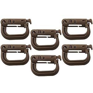COM de Four® 6x Outdoor Grimloc en forma de D mosquetón de plástico hochfesten, líquidos Táctica de clip de seguridad para mochilas, chalecos, etc. en caqui de color marrón