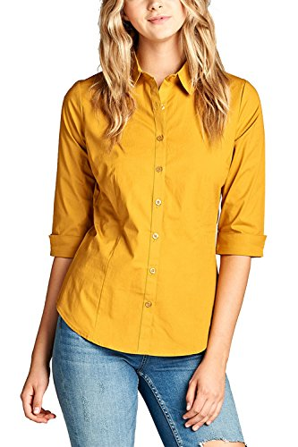 3/4 Sleeve Oxford Shirt (Womens 3/4 Sleeves Classic Button Down Collar Shirts T2564XL (L, Mustard))