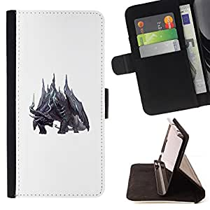 BullDog Case - FOR/Samsung Galaxy A3 / - / WHITE DRAGON FAIRYTALE MONSTER BLACK /- Monedero de cuero de la PU Llevar cubierta de la caja con el ID Credit Card Slots Flip funda de cuer