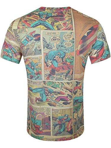 marvel comics TS180805MAR-2XL - MARVEL COMICS Captain America Men's Classic Comic Strip T-Shirt, Extra Extra Large, Multi-Colour (TS180805MAR-2XL)