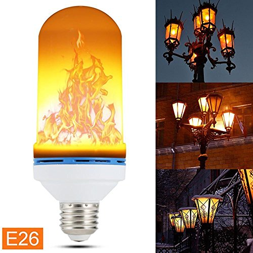 Natural Light LED Flame Effect Light Bulb, Fire Flickering Simulation Indoor Outdoor Lightbulb for Vintage Effect Natural Atmosphere Ideal for Theme Party, Birthdays, Christmas Holidays