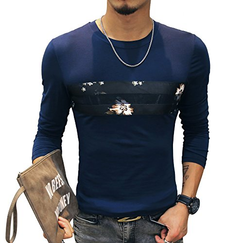 (LOGEEYAR Mens Cotton Fitted Short-Sleeve Graphic Printed Pullover Casual T-Shirt (Large, 2-blue))