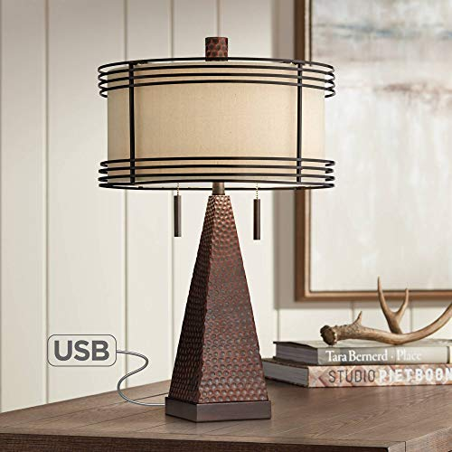 (Niklas Industrial Table Lamp with USB Charging Port Rustic Hammered Bronze Metal Double Drum Shade for Living Room Bedroom Bedside Nightstand Office Family - Franklin Iron Works)