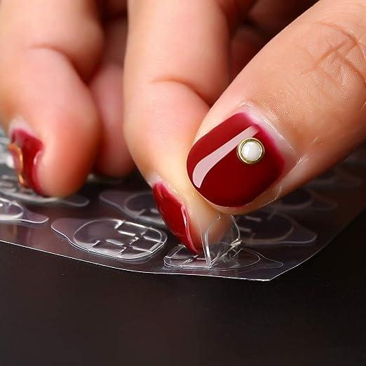 Amazon.com: 50 hojas/lote pegamento de doble cara para uñas ...